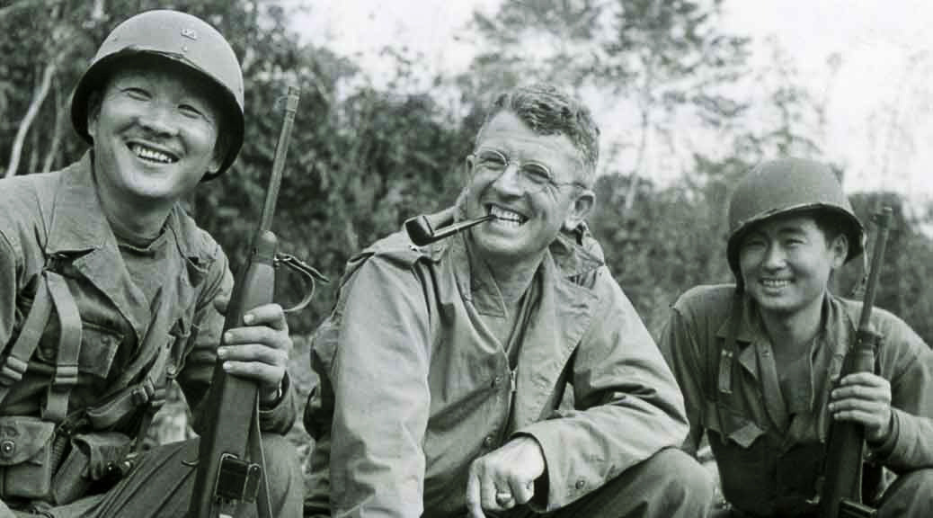General Frank Merrill and two MIS Nisei soldiers